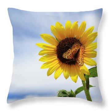 Butterfly On A Sunflower Throw Pillow