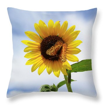 Butterfly On A Sunflower Throw Pillow