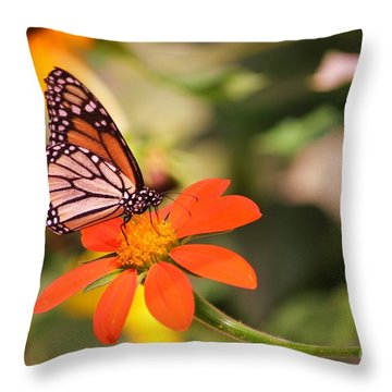 Butterfly On Flower 1 Throw Pillow by Artie Wallace