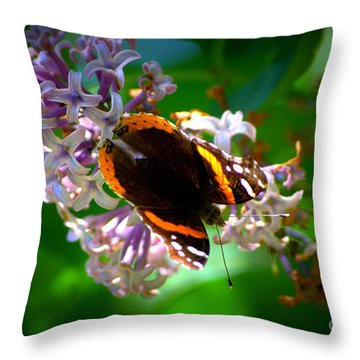 Butterfly On Lilac Throw Pillow