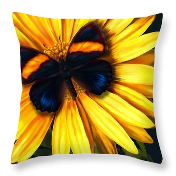 Butterfly On Yellow Throw Pillow by Virginia Palomeque