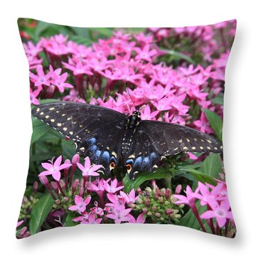 Throw Pillow featuring the photograph Butterfly Pinkflowers by Jerry Bunger