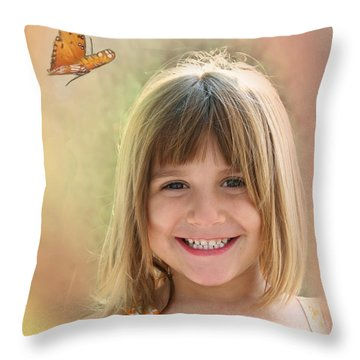 Butterfly Smile Throw Pillow