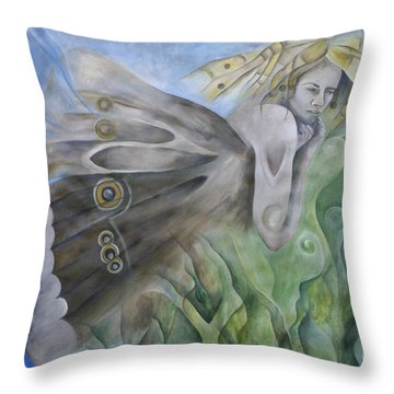 Butterfly Woman Costa Rica Throw Pillow by Bob Christopher
