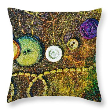 Buttons Throw Pillow by Gwyn Newcombe