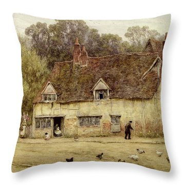 By The Old Cottage Throw Pillow by Helen Allingham