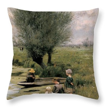 By The Riverside Throw Pillow by Emile Claus