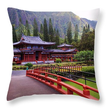 Byodo-in Throw Pillow by Craig Wood