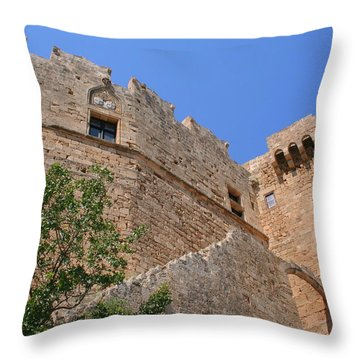 Byzantine Fortress At Lindos Throw Pillow by Laurel Talabere