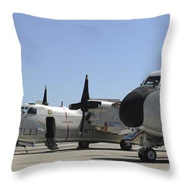 C-2a Greyhound Aircraft Start Throw Pillow by Stocktrek Images