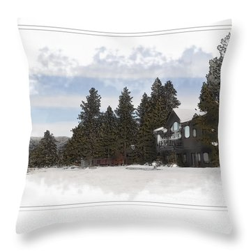 Cabin In Snow With Mountains In Background Throw Pillow