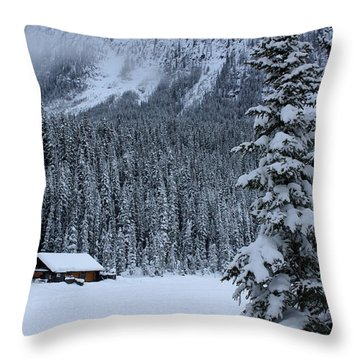 Cabin In The Snow Throw Pillow by Alyce Taylor