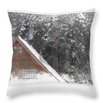 Cabin In The Winter Throw Pillow