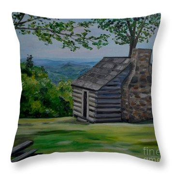 Throw Pillow featuring the painting Cabin On The Blue Ridge Parkway In Va by Julie Brugh Riffey