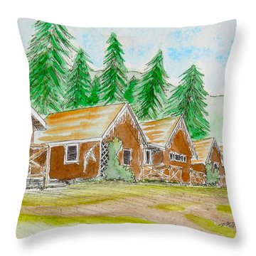 Cabins At Aigas Throw Pillow