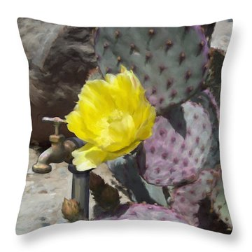 Cactus Flower 2 Throw Pillow by Snake Jagger