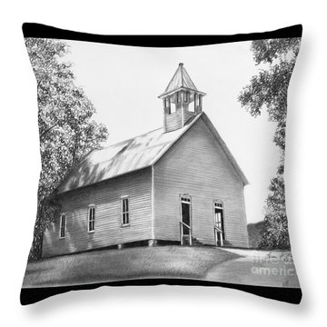 Cades Cove Methodist Church Throw Pillow