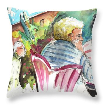 Cafe Life In Spain 03 Throw Pillow by Miki De Goodaboom