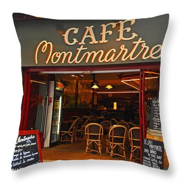 Cafe Montmartre Throw Pillow by Bob and Nancy Kendrick