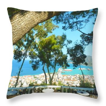 Cafe Terrace At Bohali Overlooking Zante Town Throw Pillow by Ana Maria Edulescu