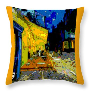 Throw Pillow featuring the painting Cafe Vincent by Jann Paxton