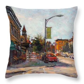 Caffe' Aroma In Elmwood Ave Throw Pillow