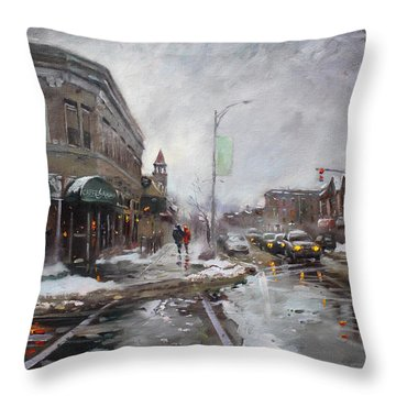 Caffe Aroma In Winter Throw Pillow