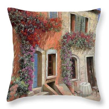 Caffe Sulla Discesa Throw Pillow by Guido Borelli