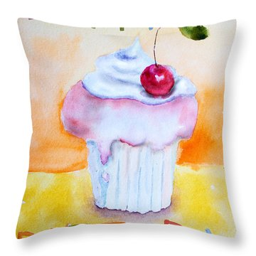 Cake With Insription Happy Birthday Throw Pillow