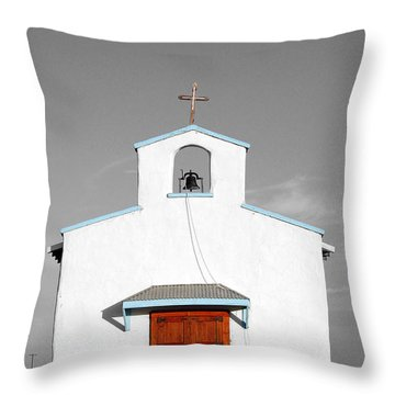 Calera Mission Chapel Facade In West Texas Color Splash Black And White Throw Pillow by Shawn O'Brien