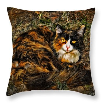 Calico Cat Throw Pillow by Joan  Minchak