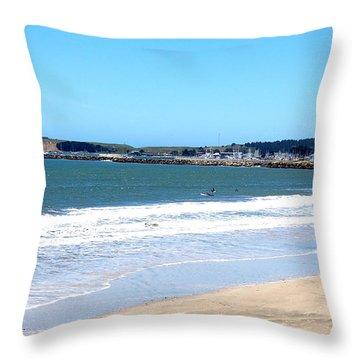 California Beach At El Granada Throw Pillow by Carolyn Donnell