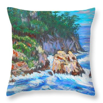 California Coast Throw Pillow by Carolyn Donnell