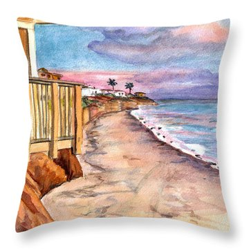 Throw Pillow featuring the painting California Coast by Clara Sue Beym