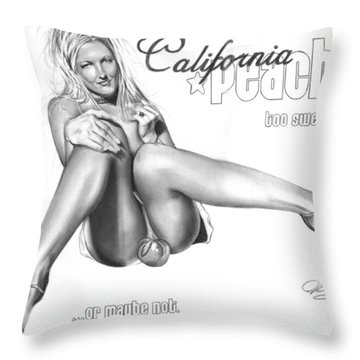 California Peaches Throw Pillow by Pete Tapang