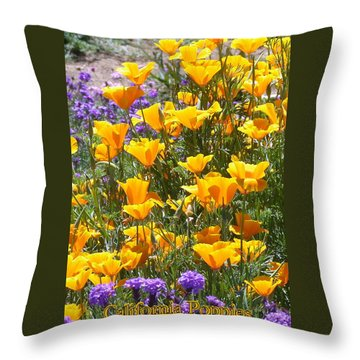 California Poppies Throw Pillow by Carla Parris