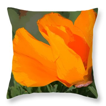 California Poppy2 Throw Pillow by Rima Biswas