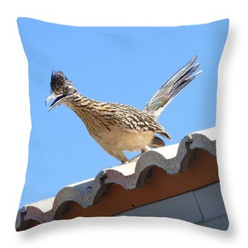 Throw Pillow featuring the photograph California Roadrunner by Carla Parris