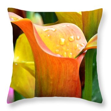 Calla Painting Throw Pillow by Pravine Chester