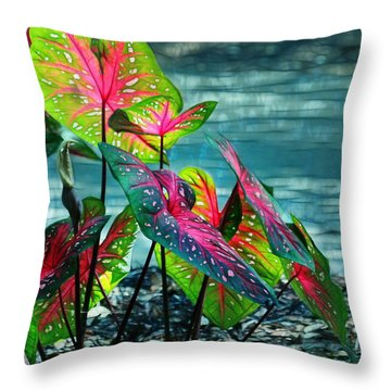 Calladiums Throw Pillow by Judi Bagwell