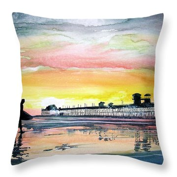 Throw Pillow featuring the painting Calling It A Day by Tom Riggs