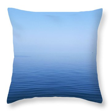 Calm Blue Water Disappearing Into Throw Pillow by Axiom Photographic