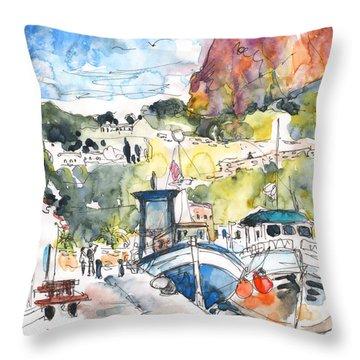 Calpe Harbour 05 Throw Pillow by Miki De Goodaboom
