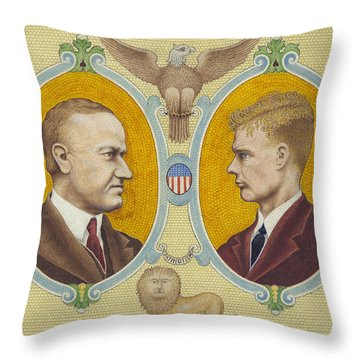 Calvin Coolidge And Charles Lindbergh Throw Pillow