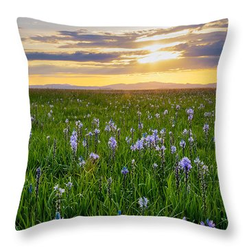 Camas Fields Throw Pillow by Idaho Scenic Images Linda Lantzy