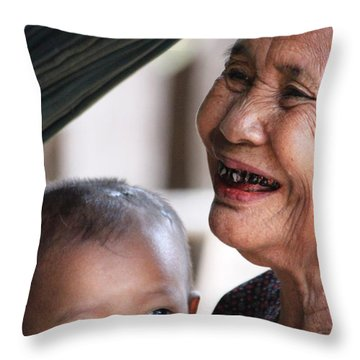 Cambodian Grandmother And Baby #2 Throw Pillow by Nola Lee Kelsey