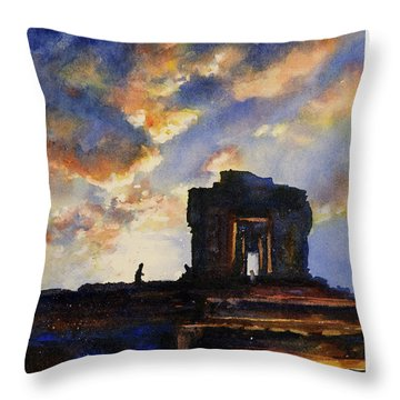 Cambodian Sunset Throw Pillow by Ryan Fox