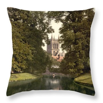 Cambridge - England - St. Johns College Chapel From The River Throw Pillow by International  Images