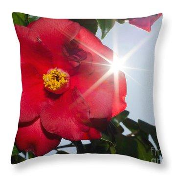 Camellia Flower Throw Pillow by Mats Silvan