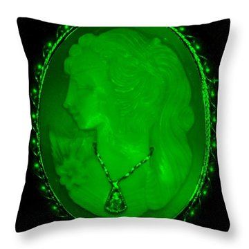 Cameo In Green Throw Pillow by Rob Hans